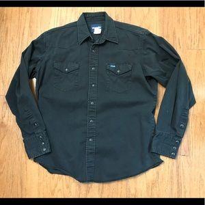 Vintage Wrangler black pearl snap western shirt-L